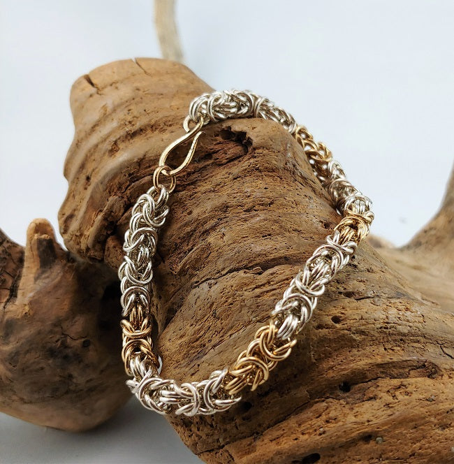 Silver and Goldfill Byzantine bracelet