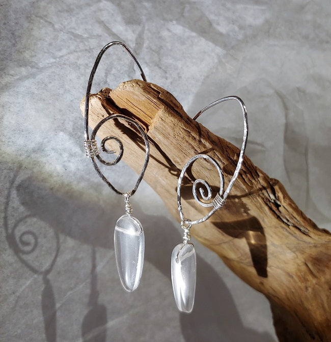 Spiral earrings with Clear Quartz