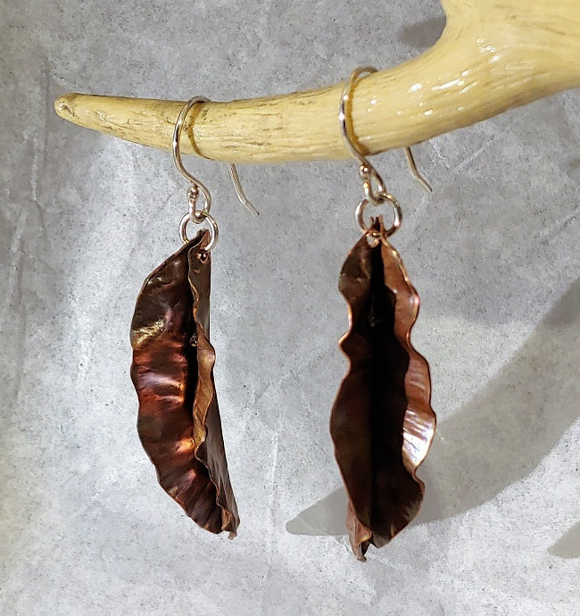 Copper fold formed earrings