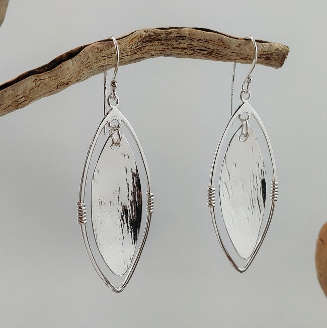 Marquise earrings with wire wrapping