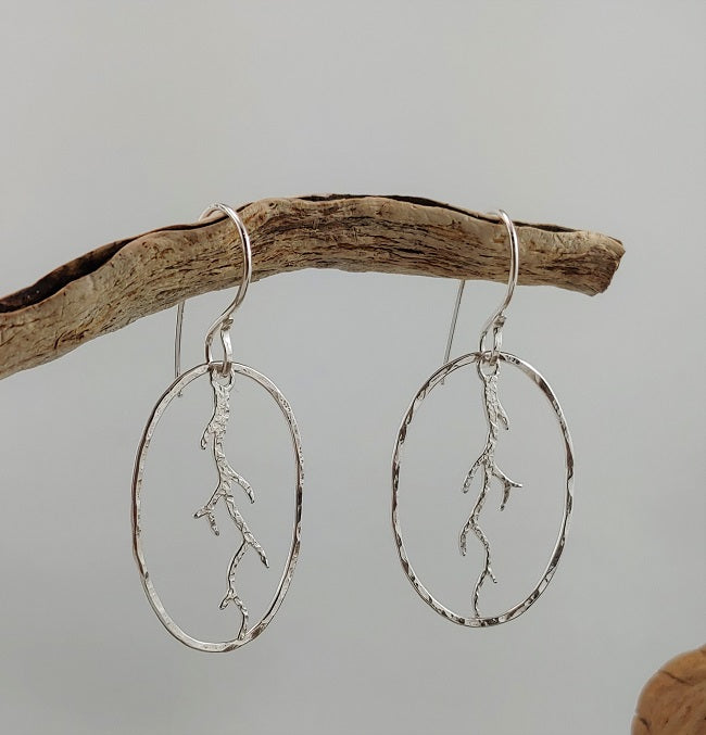 Hammered oval coral branch earrings