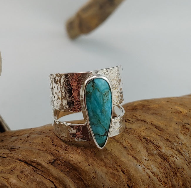 Wide Open Band Ring - Arizona Turquoise