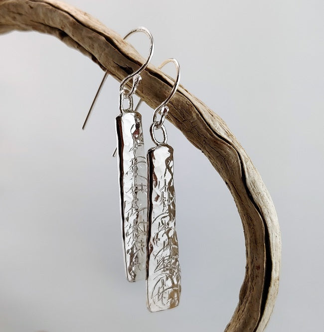 Hammer forged textured earrings