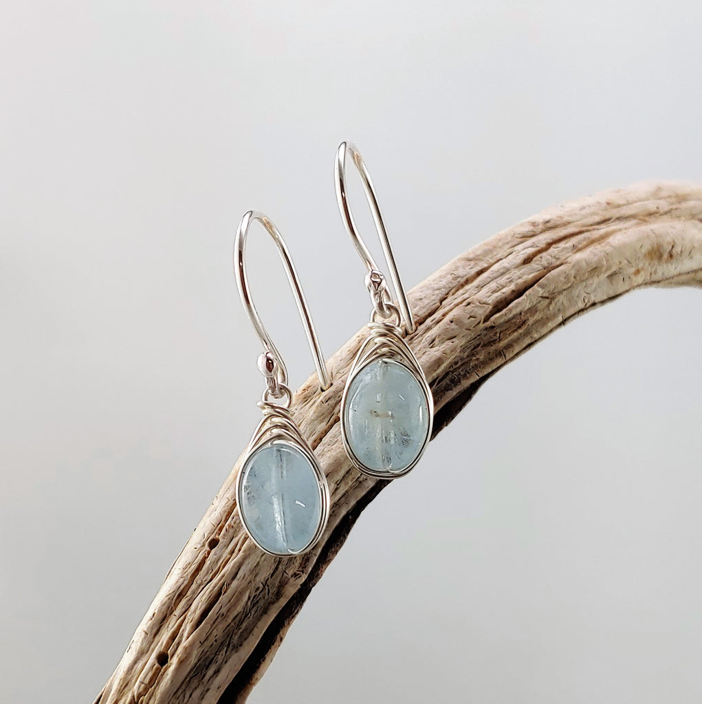 Herringbone Wrapped Aquamarine Earrings