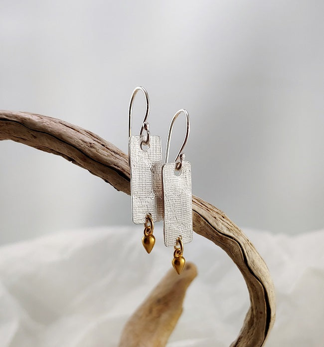 Roll printed silver earrings with 24k vermeil dangle
