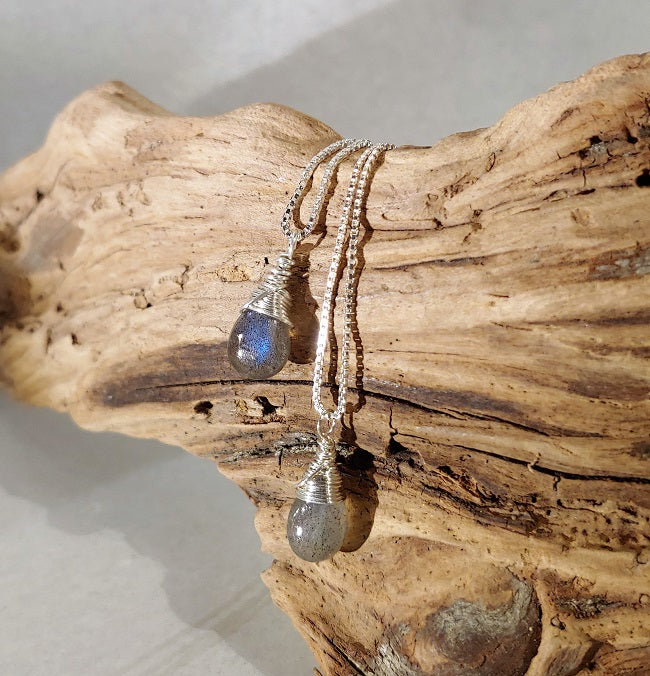 Labradorite pendants - wire wrapped