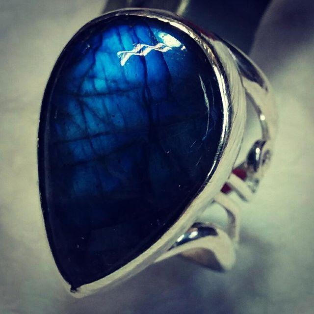 Blue Labradorite Filigree Ring