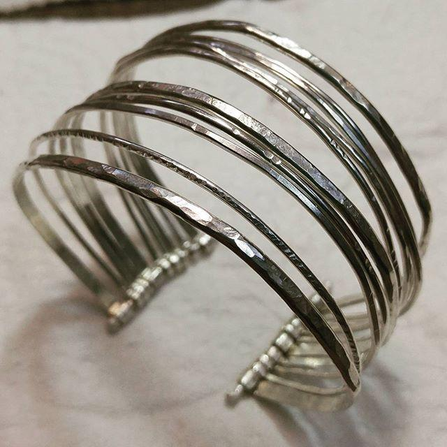 Multistrand Textured Sterling Silver Cuff Bracelet