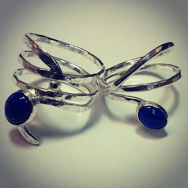 Sterling wrap rings with Lapis Lazuli cabochons