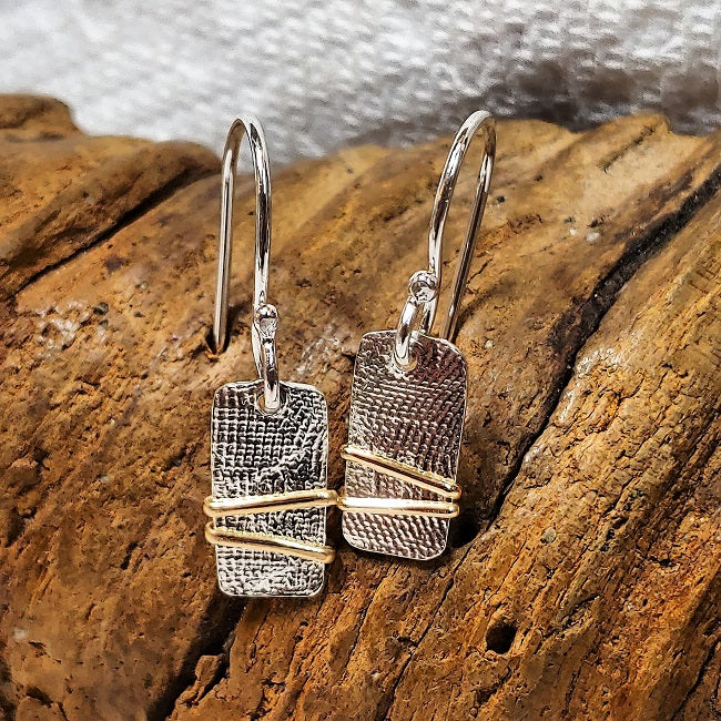 Hammered mixed metal Sterling & 14k goldfill earrings