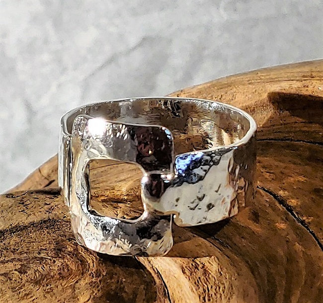 Organic hammered silver buckle ring
