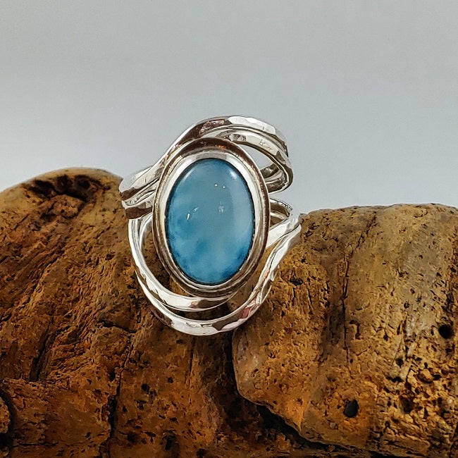 Organic hammered ring with Larimar