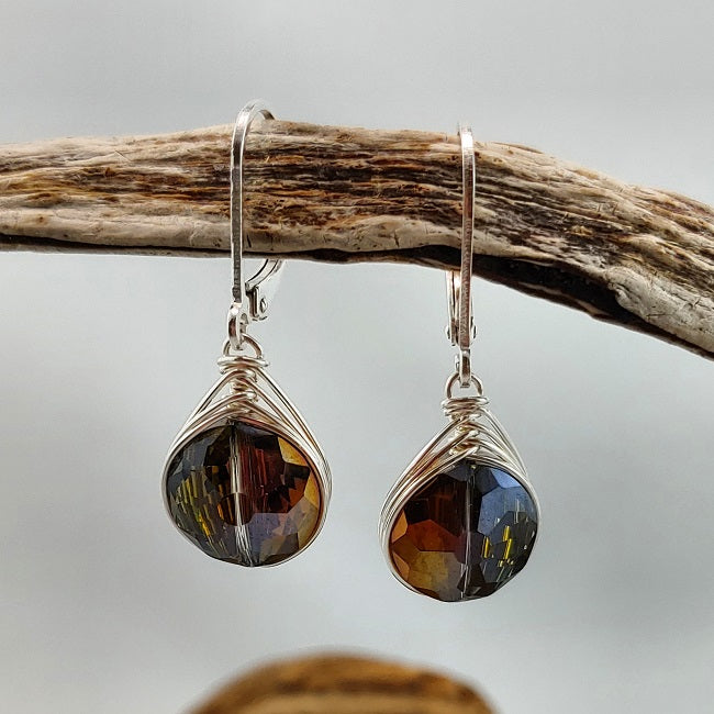 Herringbone wrapped crystal leverback earrings