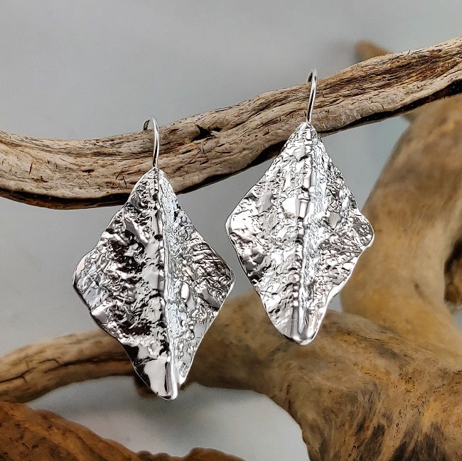 Organic fold-formed silver earrings