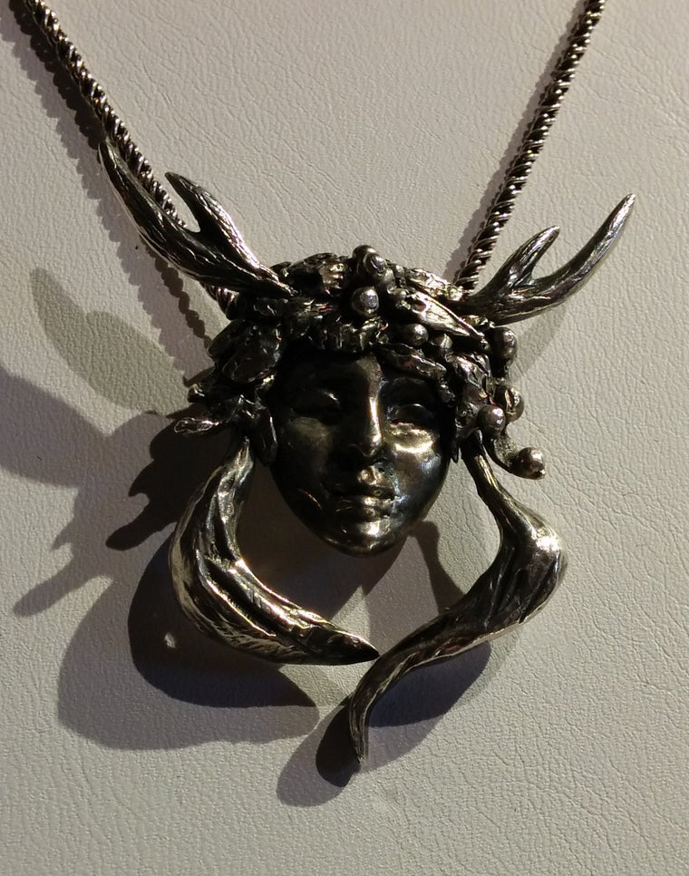 Wild Woman Pendant - lost wax casting - One of a kind