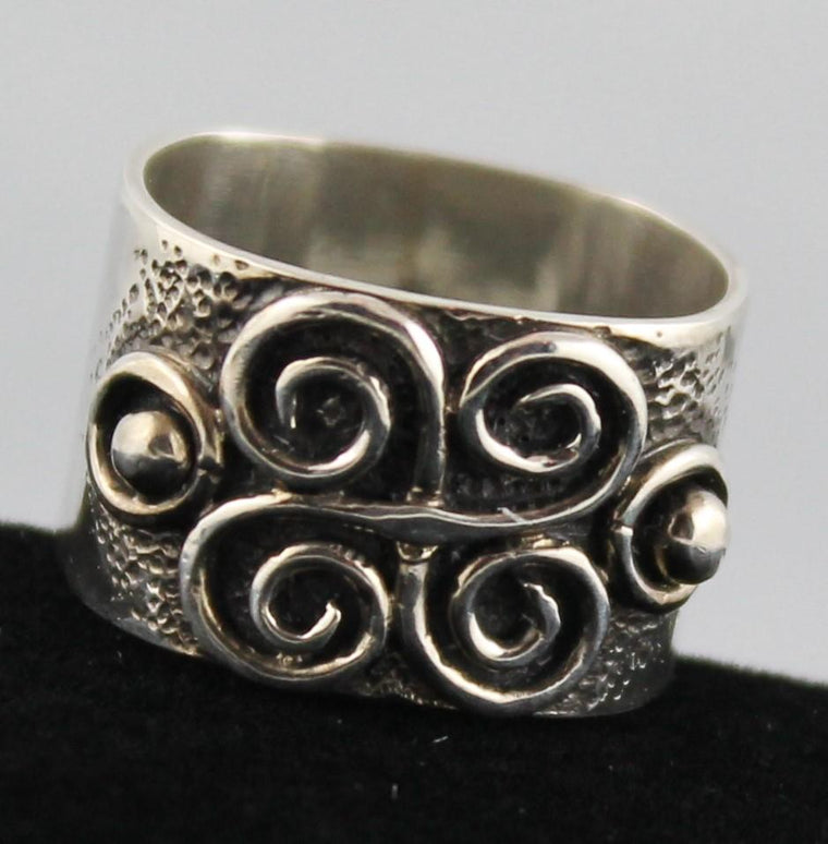 Wide Band Sterling Ring with hand formed spiral design