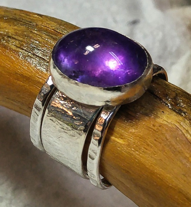Sterling stacking ring with deep Amethyst