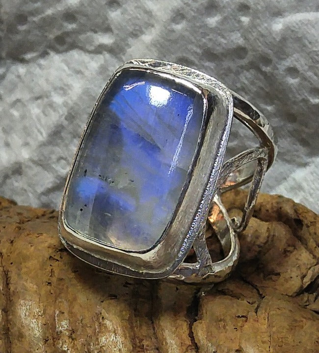 Sterling Filigree with large flashy rainbow moonstone