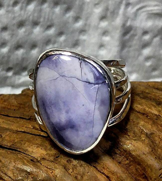Organic sterling silver wrap ring - freeform Tiffany stone