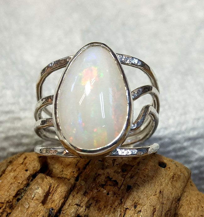 Organic wrap ring with freeform solid Australian Opal