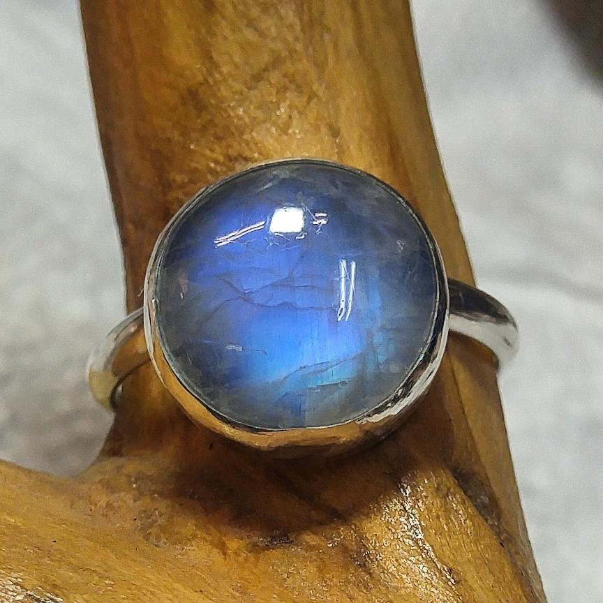 Rainbow Moonstone Silver Plain Band Ring