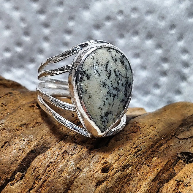 Asymmetric sterling ring with teardrop Khaki Jasper