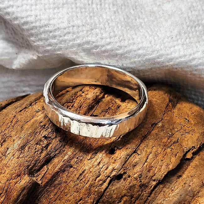 Heavy hammered sterling silver band ring