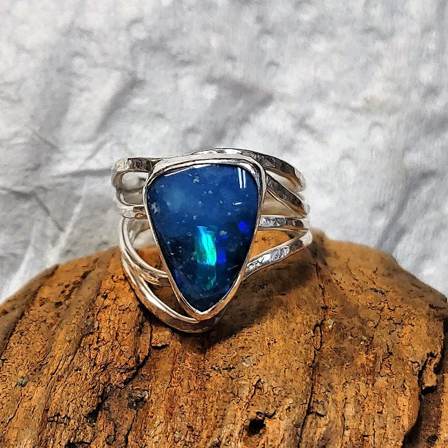 Asymmetric hammered sterling wrap ring with 10x14mm doublet Opal