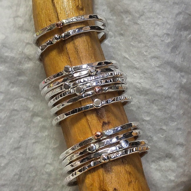 Sterling silver single ball stacking rings - copper and silver ball