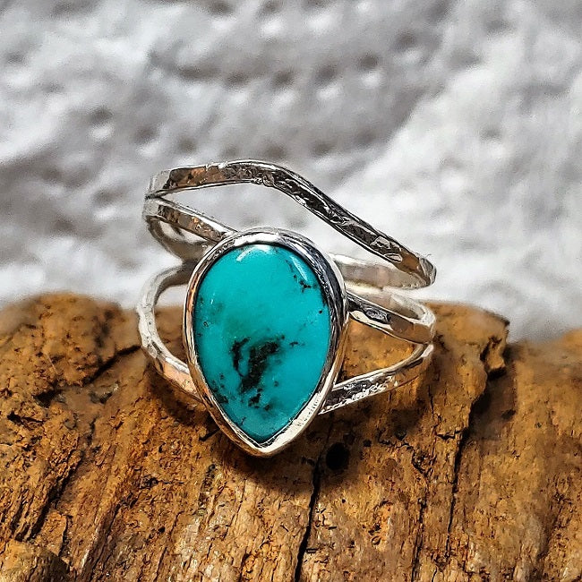 Asymmetric sterling wrap ring with teardrop Turquoise