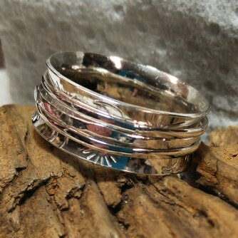 Meditation Ring - Sterling with 3 spinning bands