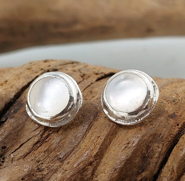 Mother of Pearl organic silver studs