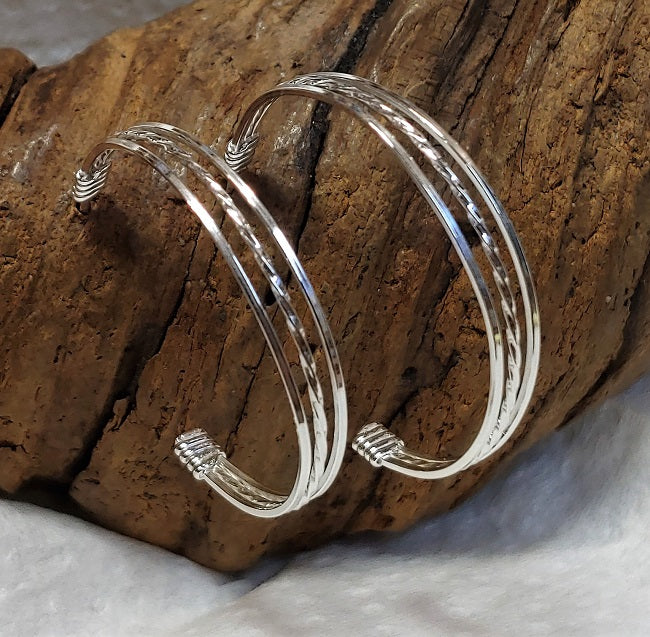 wrapped silver wire half hoop studs