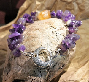 Amethyst and Citrine bracelet with focal clasp