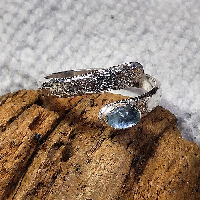 Sterling wrap ring with Aquamarine