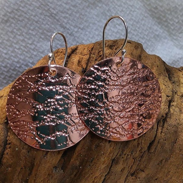 Roll printed copper earrings - sterling ear wires