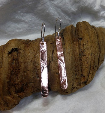 Long skinny patterned copper earrings - sterling ear wires