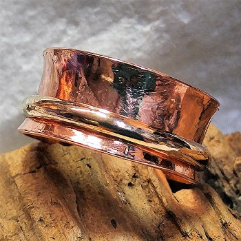 Meditation ring - copper and 14k goldfill