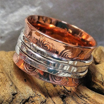 Meditation ring wide band, copper/sterling