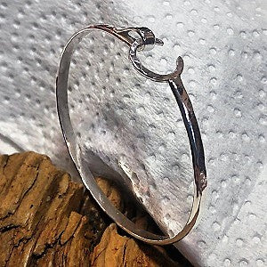 Hammered sterling crescent moon bangle