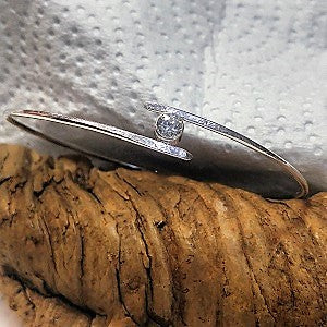 Sterling bangle with 5mm CZ