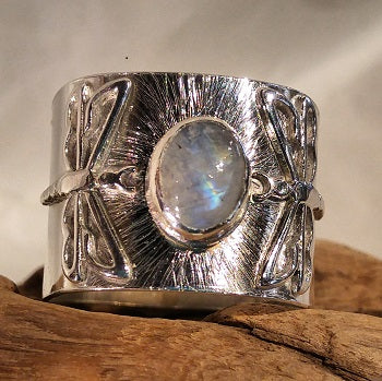 Wide band double dragonfly ring with 9 x 7 Rainbow Moonstone