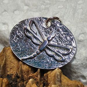 Sterling Oval Dragonfly Pendant