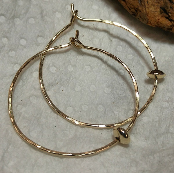 Hammered 14k goldfill hoops with bead
