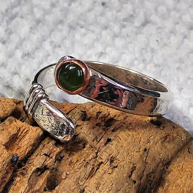 Sterling wrap ring with copper and jade