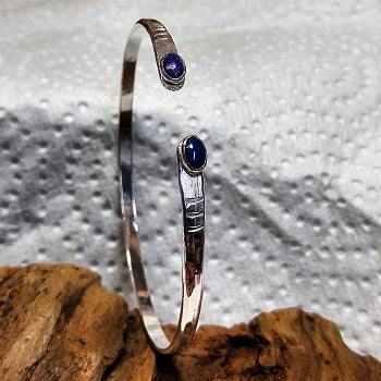 Sterling cuff bracelet with Lapis Lazuli