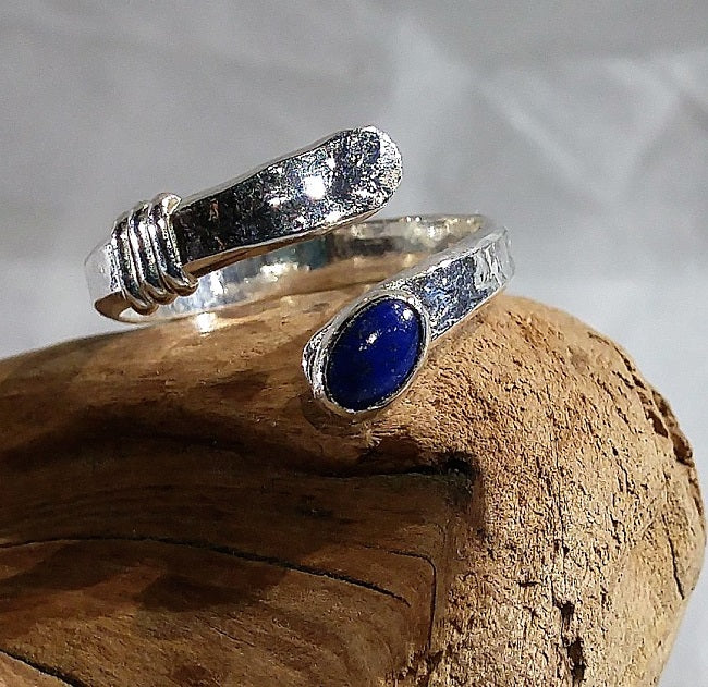 Sterling wrap ring with Lapis Lazuli