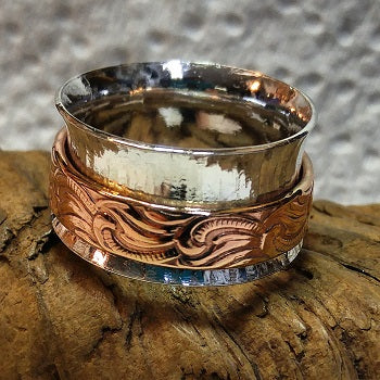 Meditation ring - sterling silver and copper