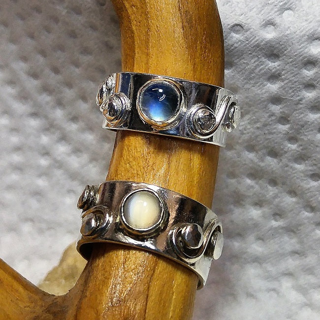 Moonstone & Rainbow Moonstone Rings - Custom Designs
