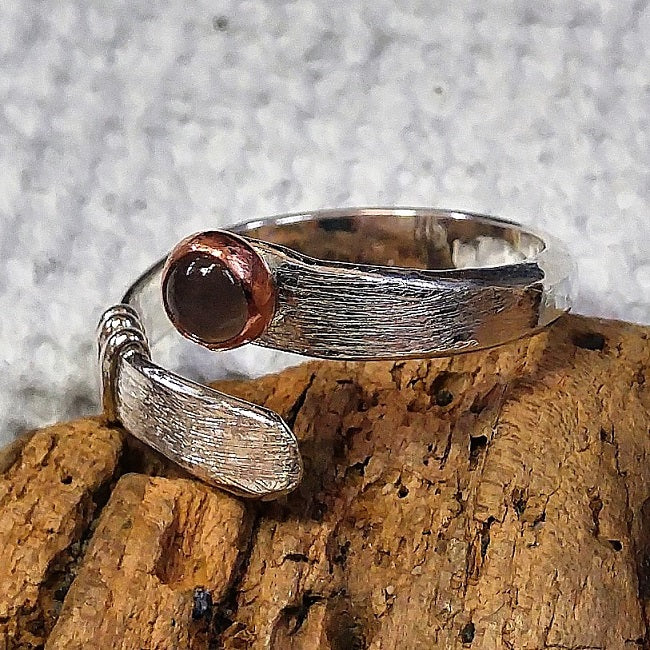 Sterling wrap ring with copper and moonstone